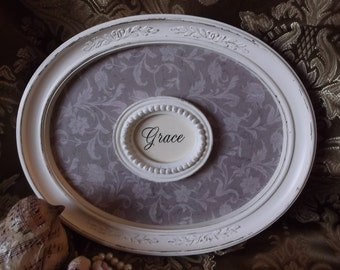 Grace, Shabby white and taupe Wall art, repurposed vintage, rustic chic