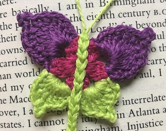 Crocheted butterfly bookmark