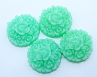 4PCS - Rosebud Flower Cabochons - Resin - Pale Mint - 17mm - Cabochons by ZARDENIA