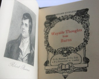 Vintage book.  Wayside Thoughts by Burns.  Hand cut pages. Scottish poet