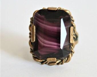 Vintage purple glass ring. Adjustable ring