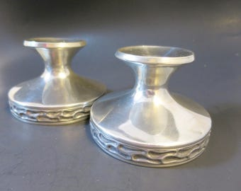 Vintage Pewter Candlestick Pair M 706 M Mustad of Norway 3 in. Ht. Modern Low Shape Hand Hammered  Detail Bottom Rim Sealed 4 inch Base