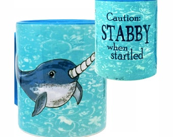 Stabby Narwhal Cute Blue Mug by Pithitude