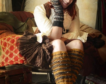 Wildling Knits Pair of Striped Pumpkin and Brown Tweed Leg Warmers