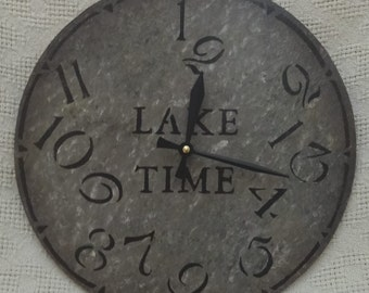 12 Inch LAKE TIME CLOCK in Bold Shades of Gray with Jumbled Numbers