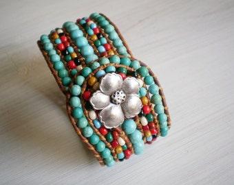 Turquoise Bracelet Rustic Leather Cuff Boho Jewelry