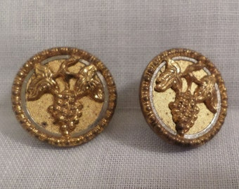 Antique Button Bright Gilt Gold Metal With Grapes Lot Of 2 Pieces Set