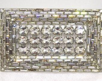 Vintage Crystal Rhinestone Rectangle Brooch Rhodium Plated AS Found