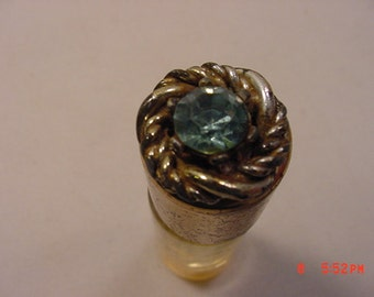 Vintage Metal & Glass Perfume Bottle With Blue Rhinestone Top  17 - 274