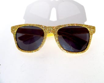 Gold Holographic Glitter Sparkly Wayfarer Style Sunglasses