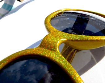 Yellow Holographic Heart Shaped Sunglasses