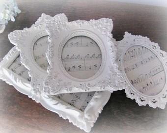 Ornate Picture Frames, Antique White Picture Frame Set, Vintage Wedding or Nursery Frames