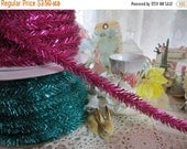 ON SALE Wire Tinsel-5 yards-Raspberry-Garland-Christmas