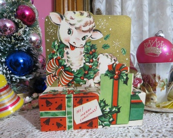 Vintage Retro Mid Century Christmas Greeting Card-Cute Lamb-Unused-Childrens-Stand-Up-3-D