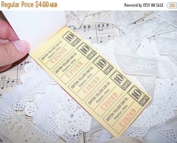ON SALE Vintage Ticket Book-Yellow Cab Company-Altered Art-Ephemera-Mixed Media-ATC-Supplies