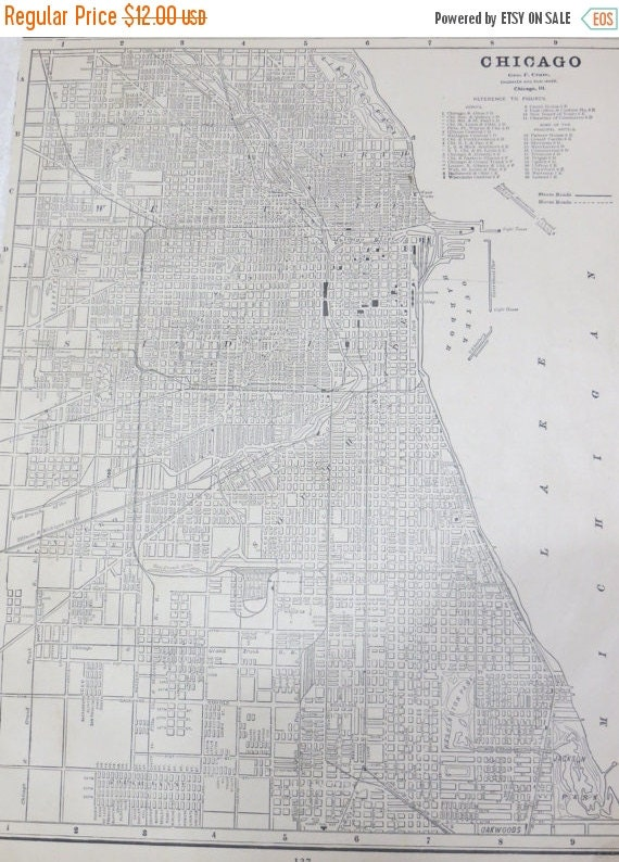 ON SALE 1891 Chicago Original Atlas Map-Art-122 years Old-City Street View