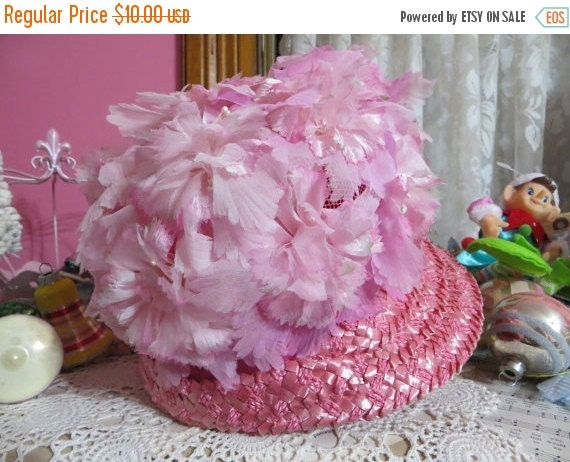 ON SALE Vintage Ladies Hat-Loaded with Millinery-PINK-Derby-Easter-Awesome Hat-Union Made-1960's-Phyllis Diller