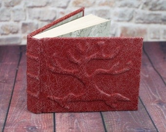 Red Tree of Life leather journal, Notebook. Beautiful distressed red leather.