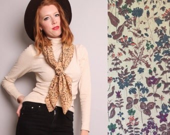 1970's Floral Calico Shawl / Square Scarf / Wrap