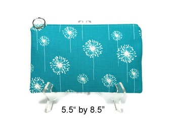 Teal Dandelion Pouch, Zipper Pouch, Gadget Case, Pencil Bag, Purse Pouch, Blue Make Up Bag, 8.5 x 5.5 Pouch, E-cig Bag, Dandelion Bag
