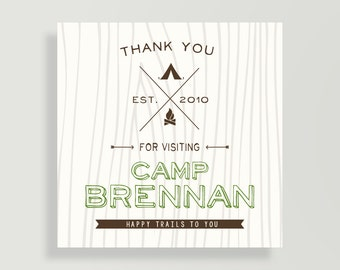 Camping Birthday Party Favor Tag - Favor Stickers - Camping Sticker - Personalized Digital File - Thank You - Happy Trails -   #00169B-BP