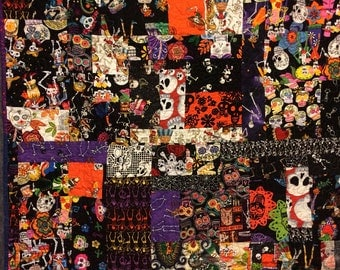 Scrappy Day of the Dead baby quilt ready to ship