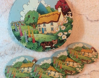 10% OFF SALE Adorable Coaster and Trivet Set - Garden Country Cottage and Cat