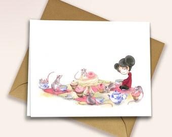 Little girl having a rat tea party - blank greeting card