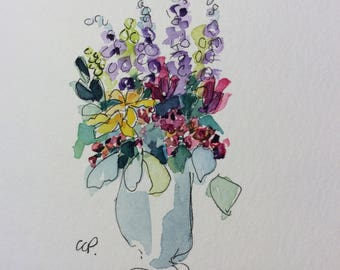 Blooms in a Vase Watercolor Card / Hand Painted Watercolor Card