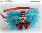 CLOSING SALE NEW Suess Headband-Shabby Flower-cat in the hat Dr. Suess Red Turquoise made by Maddie B's Boutique