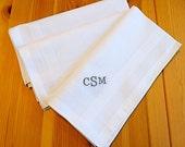 Set of 3 White Fine Cotton Mens Monogrammed Handkerchiefs Style No. 2024