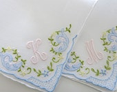 Bridesmaid Gift: Bridesmaid Handkerchief, Personalized Handkerchief with Single Initial