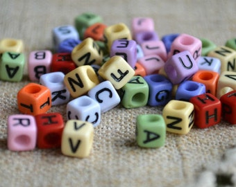 100pcs Acrylic Bead Alphabet Letters Mixed Colors 6mm Cube Beads