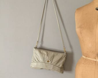 30% OFF SALE... cloudy gray leather purse | slouch leather bag or clutch