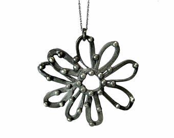 Handmade Oxidized/Shiny Sterling Silver .925 Funky Pop Art Daisy Pendant