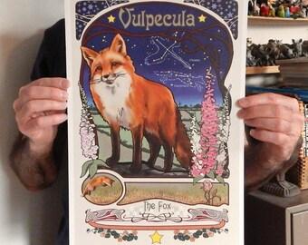 Mini Poster Cute Red Fox Vulpecula Constellation Print of Original Illustration 11x17 inches