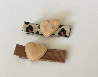 Boutique Clippies ...   Set of 2 Alligator Clips ...  Brown Hearts