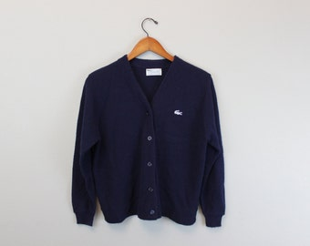 Vintage 80s knit Cardigan Navy Blue by Lacoste Haymaker