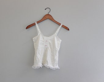 Vintage Romantic white Silky Sheer Crop top Tank