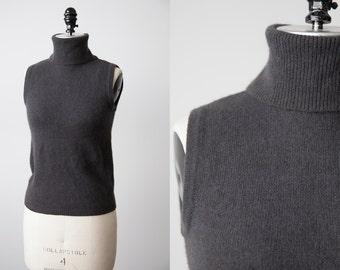 Vintage Charcoal Gray Lambswool Angora Sleeveless Turtleneck Knit Top Sweater 90s S
