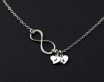 SALE 15% Personalized Infinity Heart Charm Jewelry, Silver Initial Necklace, Birthday Gift for Her, Hand Stamped Jewelry