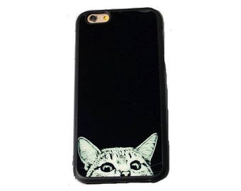 iPhone 6 case iphone 6S case iphone 6 plus Apple iphone 6S plus case cover skin cat kitten peep funny kitty pet free clip on neck chain gift