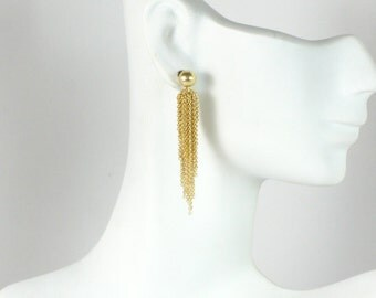 Gold Fringe Chain Post Earrings