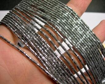Hematite silver - 2mm hexagon heishi  beads - full strand - 200 beads - AA quality  - PHG253