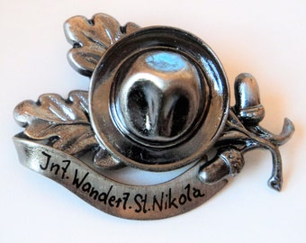 St Nikola Switzerland Souvenir Brooch... Oak Leaf & Hat... Dark Silvertone Metal