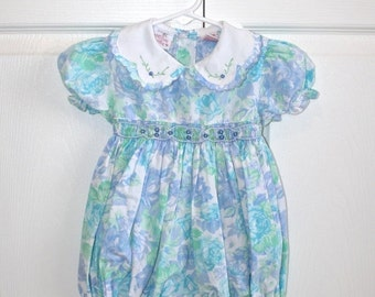 SALE Vintage Baby Girl's Romper . 80s 90s Blue Floral Babies Toddlers Smocked Spring Summer Body Suit Shorts . Size 18 Months