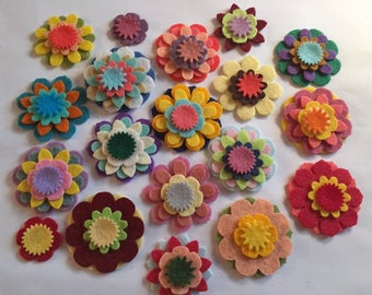 Wool Felt Mix & Match Flowers 80 total - Random Colored *Stock image 4016 - Kids Crafts - Headband - DIY - Daisy - Blossom - Crafting