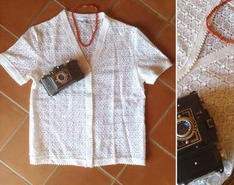 1940s french white lace shortsleeves shirt size M
