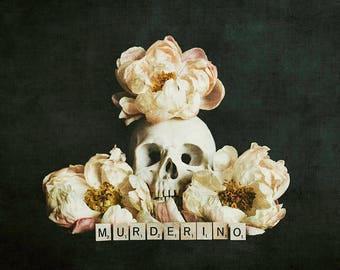 Murderino - Fine Art Photography - My Favorite Murder, vanitas, peonies, skull, botanical, still life, pink, black, ssdgm