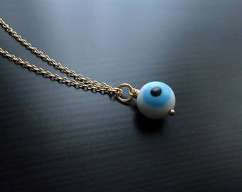 Evil Eye Necklace, Mal de Ojo, Talisman, Glass Pendant, 14kt Gold Filled